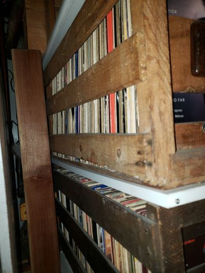 Close-up of books on shelf at home