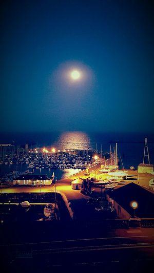 The view from my hotel window Night Moon Sky No People Illuminated Astronomy Marina sea