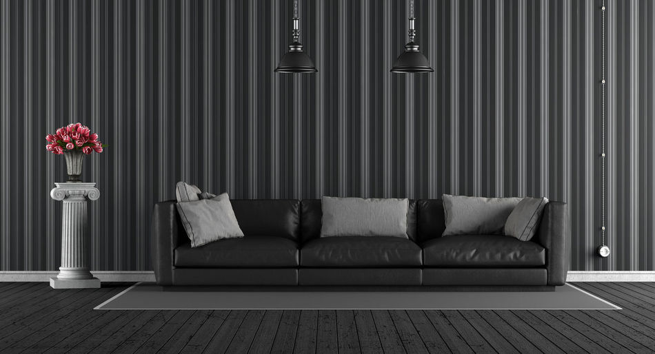 Leather Black Column Cushion Domestic Room Electric Lamp Flower Furniture Home Interior Home Showcase Interior Indoors  Living Room No People Sofa Wallpaper Wood - Material