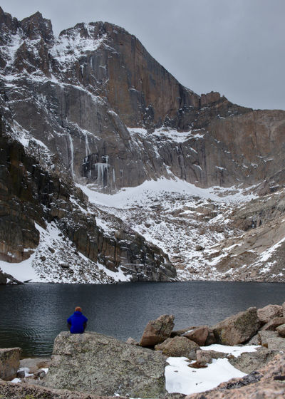 Alone Alpine Chasm Lake Colorado Hiking Nature Peaceful View Rocky Mountain National Park Rugged Adventure Diamond Longs Peak Meditative Mountainscape Rocky Mountains Rugged Beauty Scenics Silence Silence Of Nature Single Person Snow Wilderness Winter Wonderland Lost In The Landscape