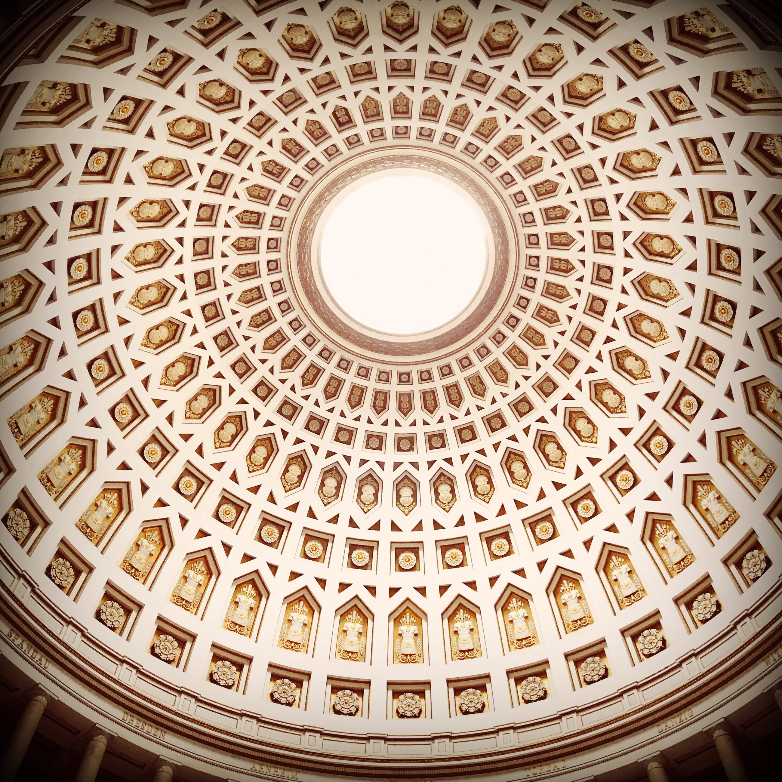 architecture, built structure, indoors, history, ceiling, low angle view, dome, travel destinations, cupola, pattern, no people, place of worship, day
