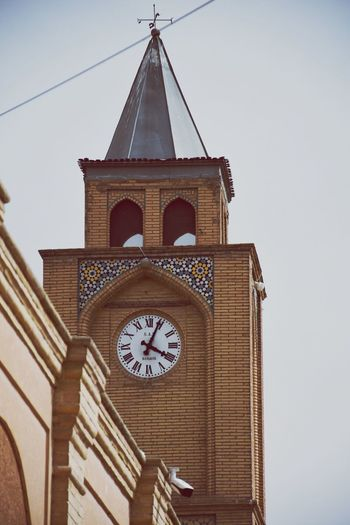 Vank Cathedral Clock Time Built Structure Architecture Low Angle View Clock Tower Clock Face Building Exterior Minute Hand No People Religion Day Outdoors Place Of Worship Sky Roman Numeral Hour Hand