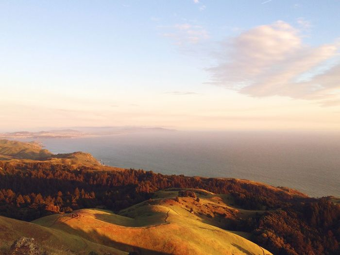 Scenic view of sea from mt tamalpais against sky