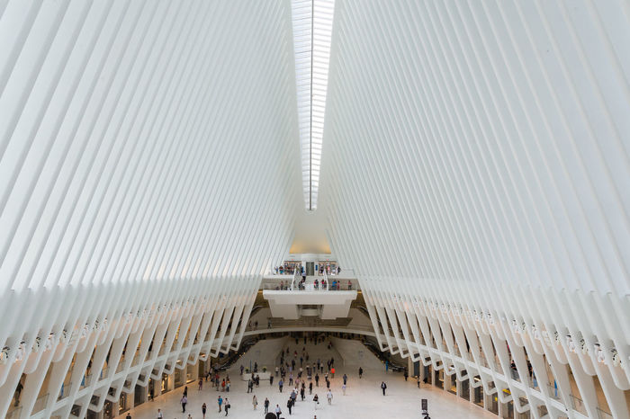 Calatrava City Cityscape Light Modern Modern Architecture New York New York City The Oculus World Trade Center Transportation Architecture Built Structure Day Frame High Angle View Indoors  Light And Shadow Modern People Real People Streetphotography Structure Subway Subway Station White