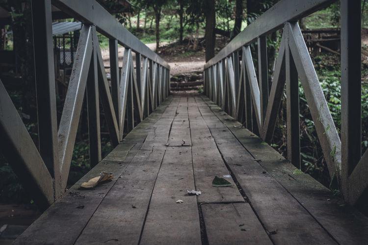 Footbridge amidst trees