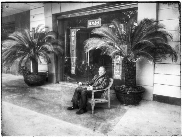 Foshan,China Real People One Person Palm Tree Day Men People Steetphotography 中国 黑白 Black And White Black & White