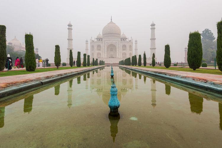 Reflection of taj mahal in pond