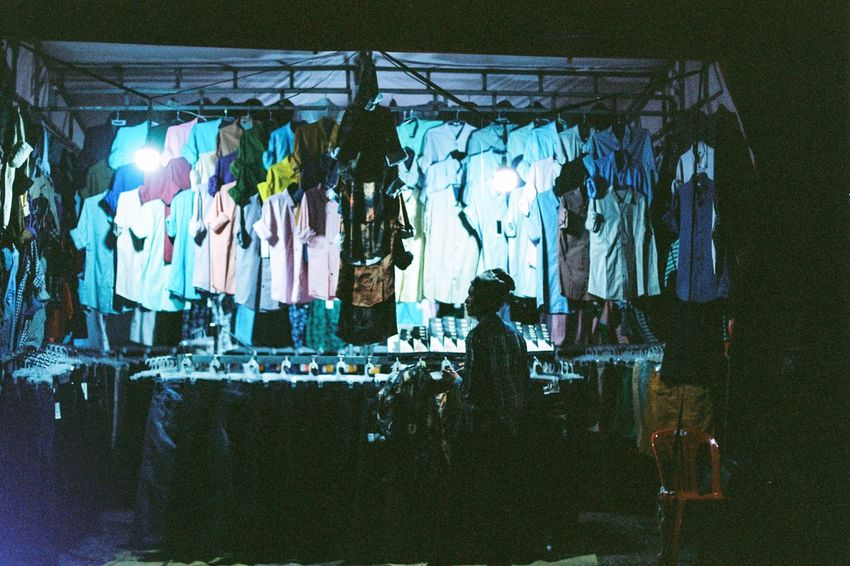 Street market in Ankor wat Film Photography Ae-1 Canon Hanging Clothing Business Finance And Industry Fashion