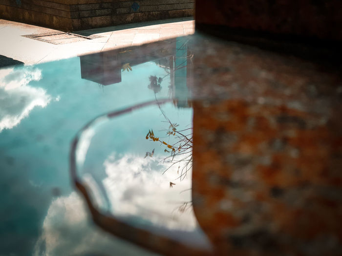 High angle view of swimming in pool