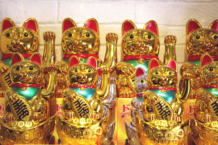 43 Golden Moments A whole collection of beckoning cats - thaugt to bring in wealth. Cat Cats Beckoning Cat Manekineko Maneki-neko Malaysia No People Wishing Merchandise Japanese Culture Chinese Culture Gold Golden Wealth Luck