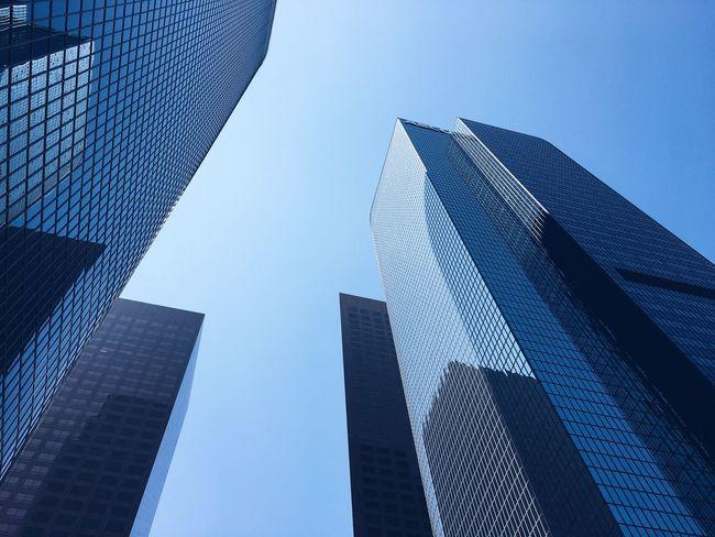 Los Angeles Downtown City Buildings Skyscrapers Blue Sky