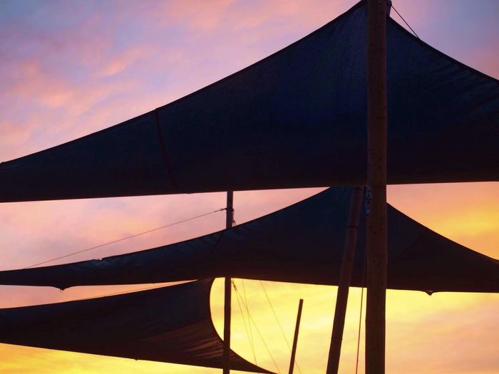 No People Low Angle View Sunset Sky Outdoors Transportation Tent Day Architecture Nature Close-up