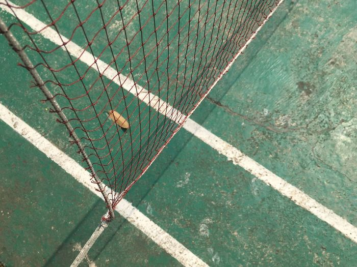 High angle view of net hanging on sports court