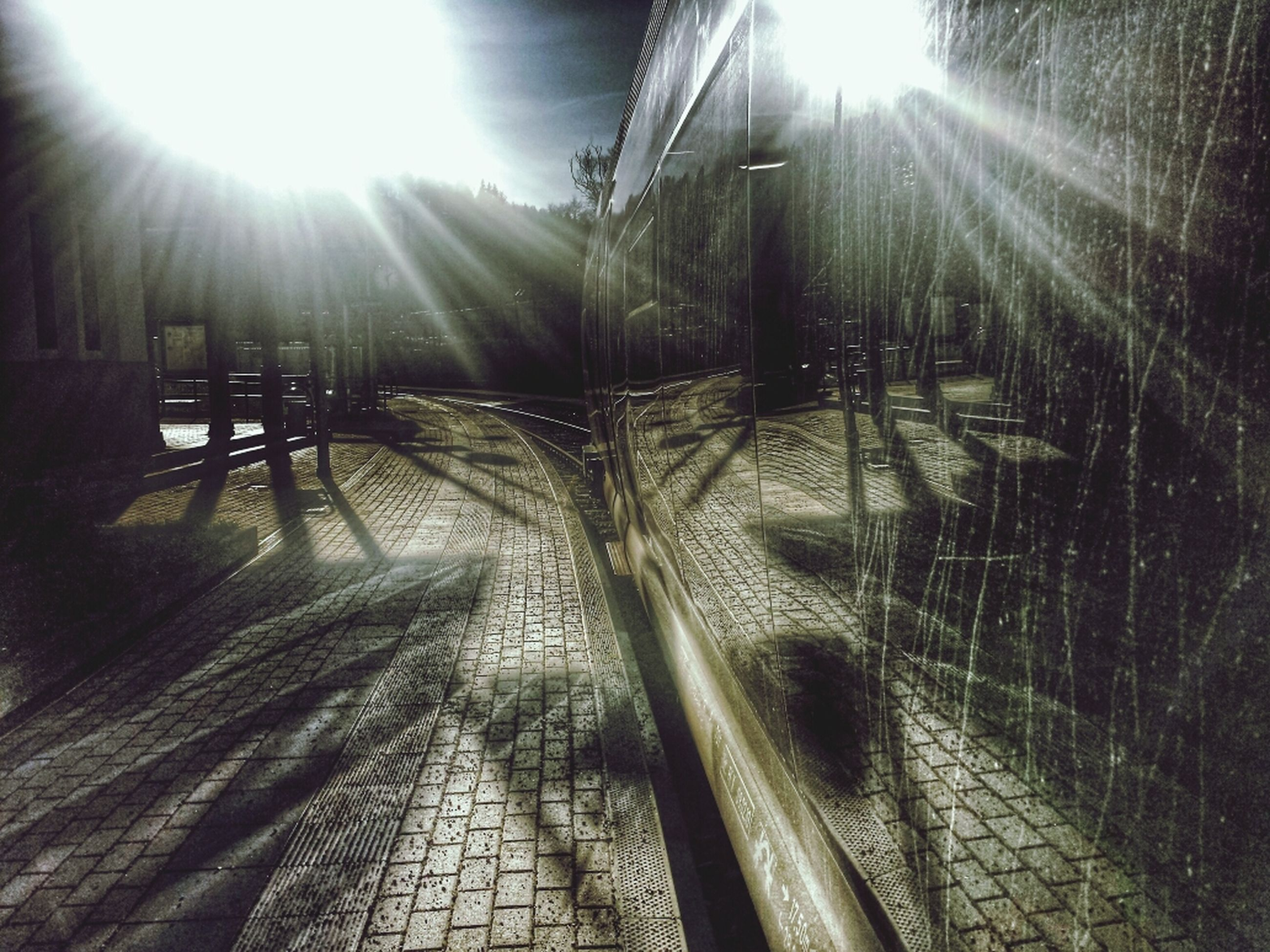 sun, sunbeam, lens flare, sunlight, bright, sunny, the way forward, brightly lit, nature, day, shiny, tranquility, outdoors, no people, back lit, shadow, diminishing perspective, shining, sky, vanishing point