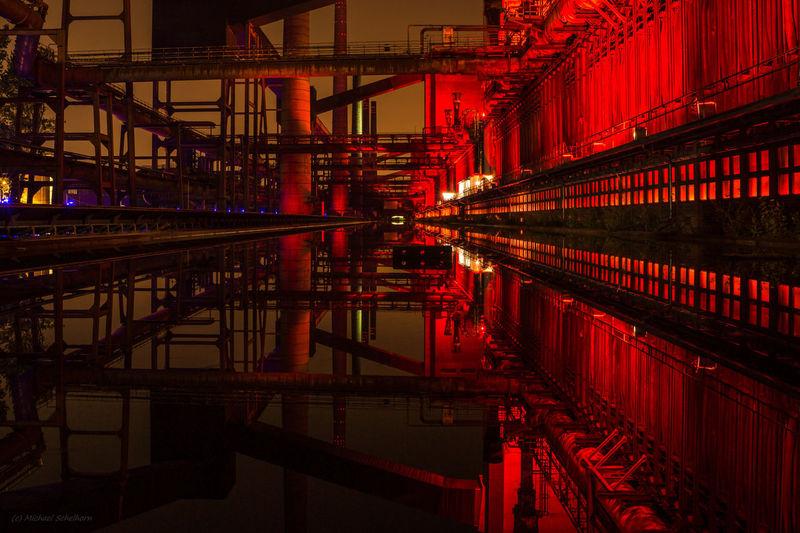 Illuminated industriell monument at night