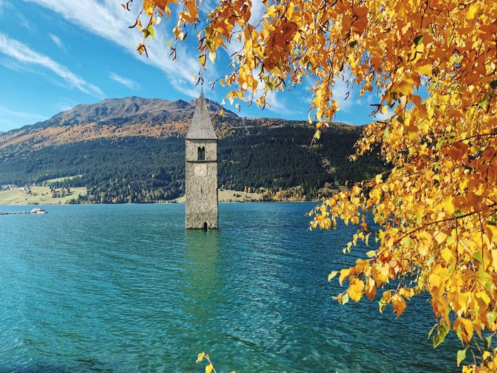 Scenic View Of Lake By Tree Against Sky During Autumn