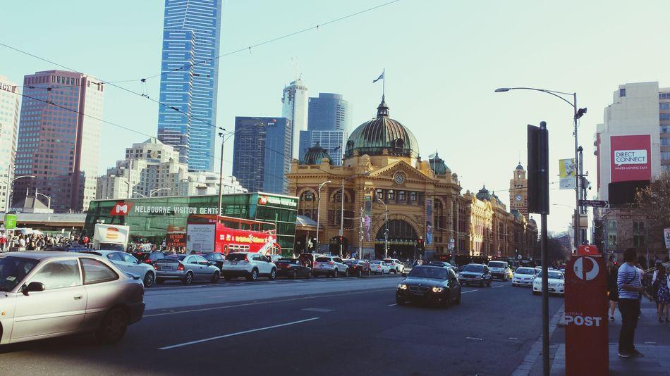 Melbourne Australia Flinders Street Station Walking Around