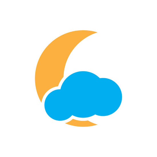 Flat moon and cloud vector icon Isolated on white background Clouds Night Flat Geometric Goodnight Illustration Outdoor Stamp Symbol Button Dream Graphic Icon Logo Moon Shape Sign Weather Design Forecast Meteorology Sky Symbol Wallpaper Web