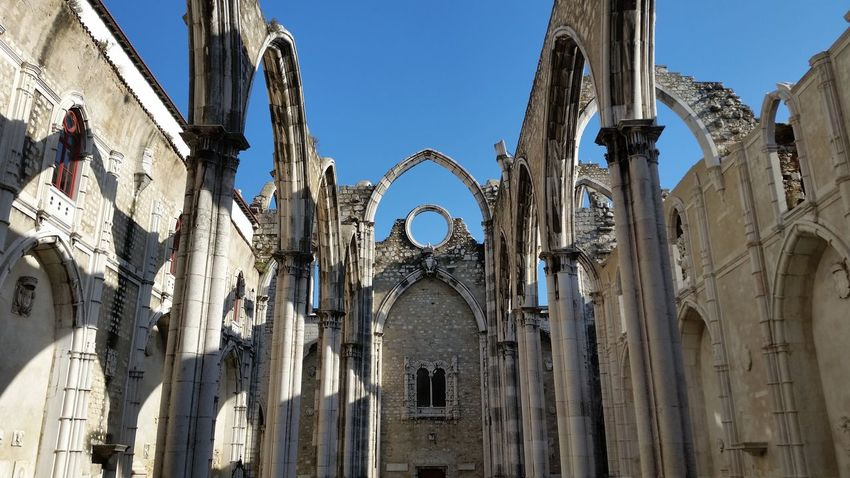 Ancient Arch Architecture Built Structure Carmo Convent Church Clear Sky Convento Do Carmo Destroyed Buildings History Lisbon Low Angle View Monastery Outdoors Place Of Worship Portugal Travel Destinations