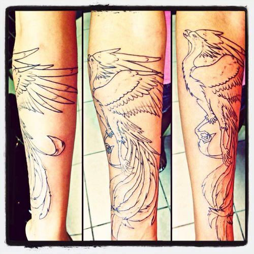 Phoenix tattoo outline done by my boyfriend Tim Stinson at Bob's Tattoo in Raymond, NH Raymond, Nh Girls With Tattoos Phoenix Tattoo Tattoo