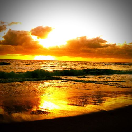 Sunset Beach Waves Ocean Orange First Eyeem Photo