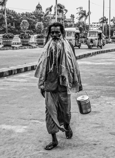 Beard Blackandwhite Casual Clothing City Life Cybershot Famous Place Front View Full Length Heritage India Indian Culture  Lifestyles Men Of Gog Portrait Real People Sony Standing