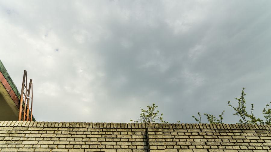 几树黄绿出墙边,三两新雨落街前,哪天得闲没啥事,搭个梯子爬上天。 ladder Roof Low Angle View Cloud - Sky Wall - Building Feature Ladder No People House Tree Leaves