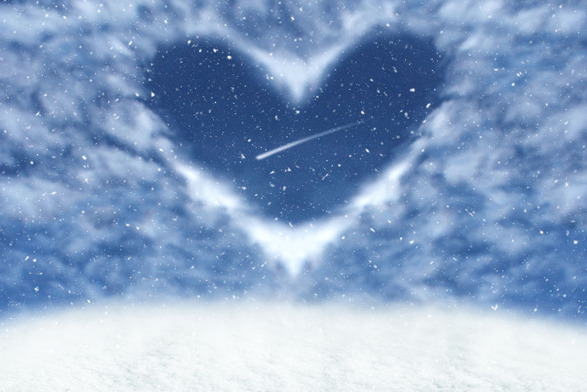 Christmas winter background with clouds in heart frame. Happy and love background. Snow Winter Cold Temperature Snowing Love Nature Emotion Sky Heart Shape Scenics - Nature Beauty In Nature Star - Space Snowflake Cloud - Sky Extreme Weather White Color Outdoors Blizzard Winter Heart Love Valentine's Day  Backgrounds Love ♥ Startrails