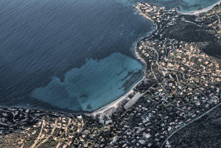 Aerial view of kala e moru beach, sardinia, italy