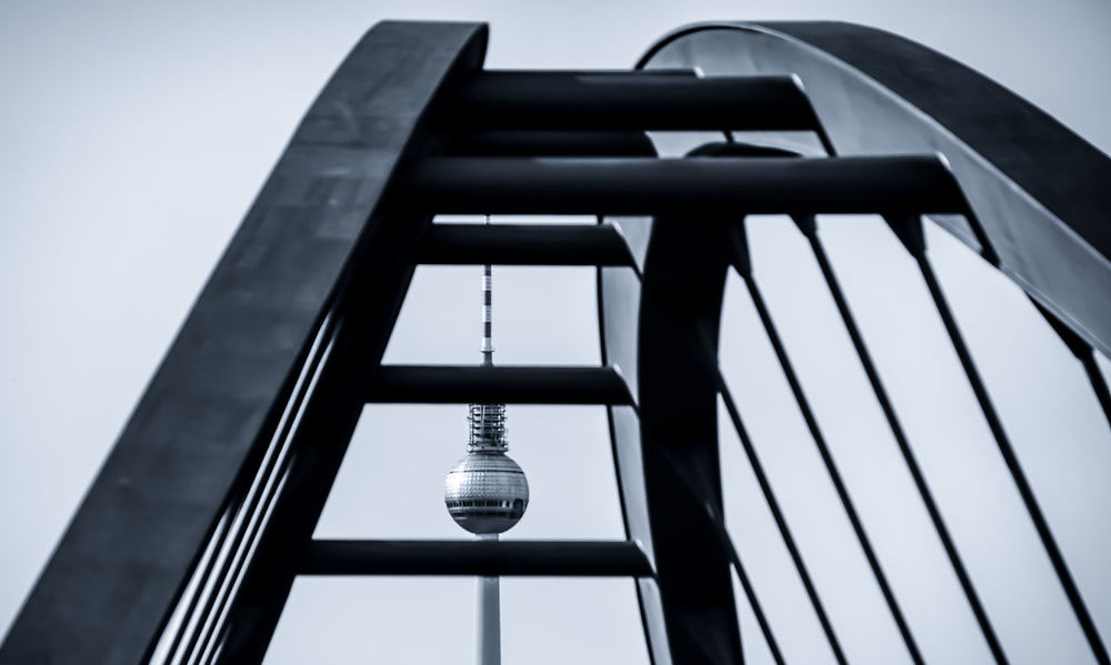 Architecture Bridge - Man Made Structure Building Exterior Built Structure Capital Cities  City Close-up Day Fernsehturm Low Angle View Modern Modern Architecture Monochrome No People Outdoors Prenzlauerberg Sky TV Tower