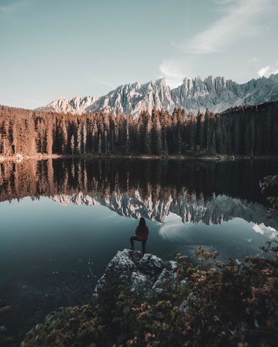 Dolomites Italy Dolomites, Italy Dolomites EyeEm Selects Water Lake Sky Beauty In Nature Tree Reflection Tranquility Nature Plant Scenics - Nature Real People Non-urban Scene Tranquil Scene Mountain Lifestyles Idyllic Forest Land Outdoors Day First Eyeem Photo