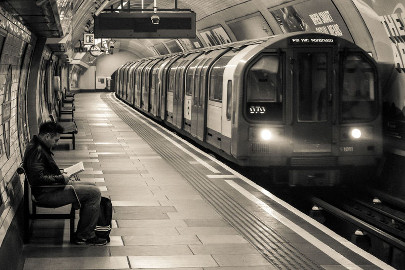 Transportation Railroad Station Platform Public Transportation Railroad Station Rail Transportation Train - Vehicle London London Underground The Tube  Mind The Gap Waiting For A Train One Person Mode Of Transport Railroad Track Black And White