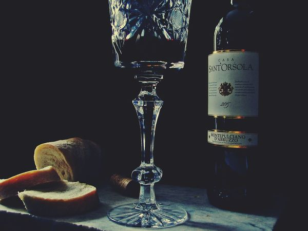 Black Background Bottle Of Wine Bread Close-up Day Food Food And Drink Food Photography Glass Of Wine Indoors  No People Red Wine Wine And Bread