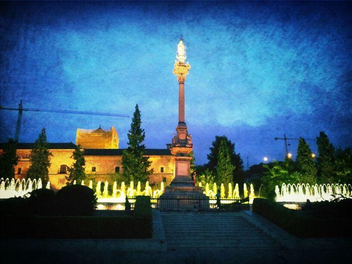 Coloured fountain Fountain Night View
