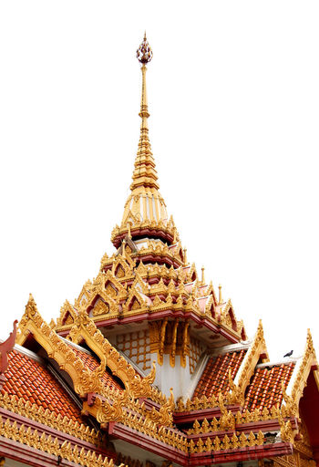 Architecture Built Structure Gold Colored Religion Place Of Worship Spirituality Building Exterior Temple - Building Roof Low Angle View Gold Spire  High Section Clear Sky Pagoda Temple Culture Gilded Sky Architectural Feature Thailand