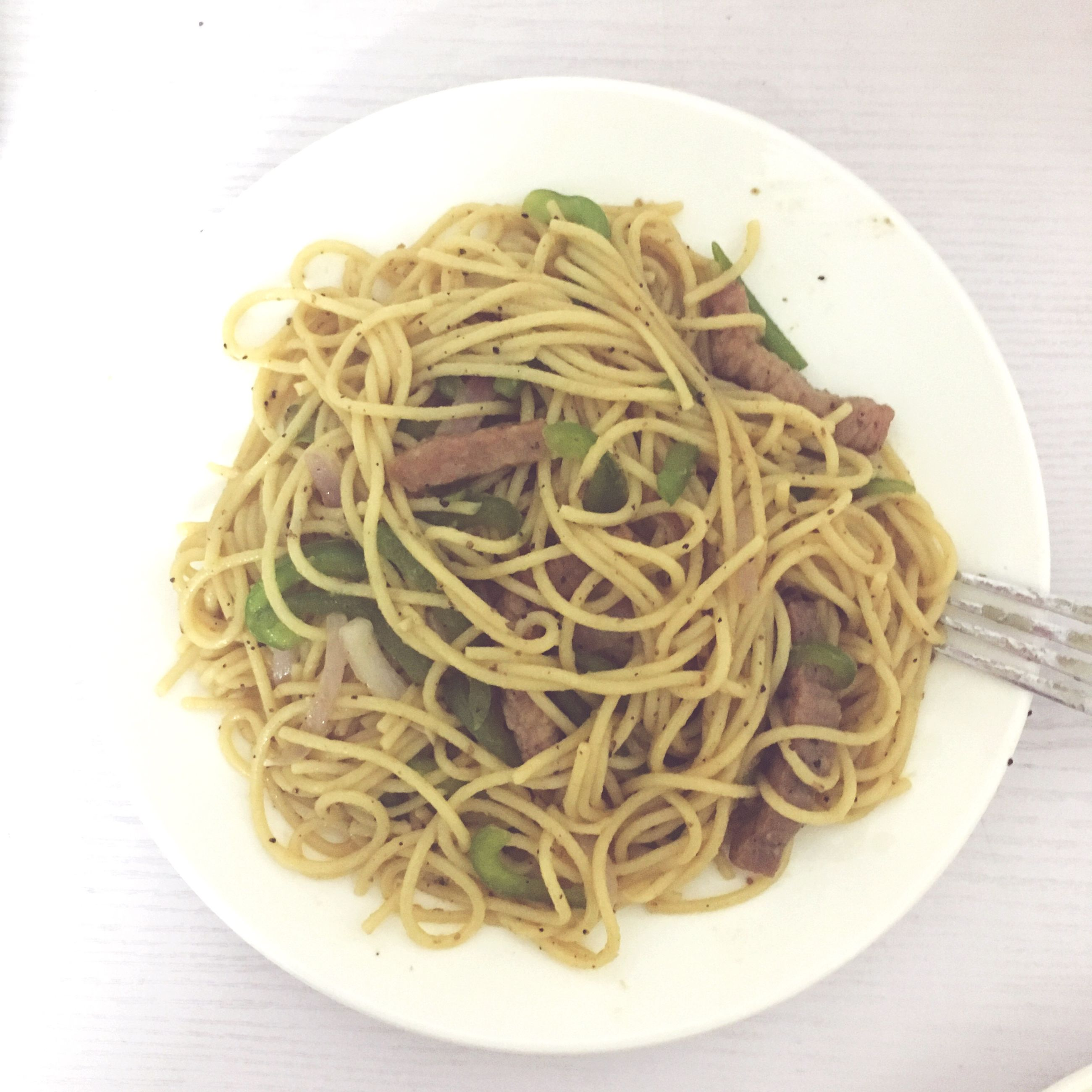food, food and drink, indoors, freshness, plate, healthy eating, ready-to-eat, still life, noodles, pasta, meal, close-up, high angle view, serving size, table, bowl, directly above, vegetable, spaghetti, cooked