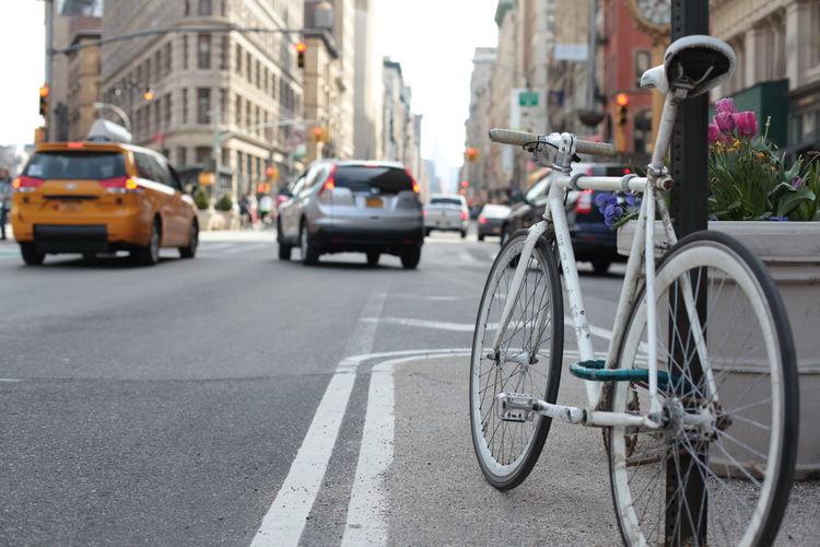 Bicycles on city street