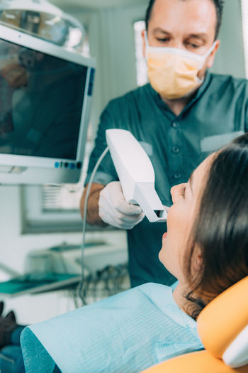 Dentist Using Dental Camera Dentist Dental Camera Scanning 3D Medicine Dentistry Clinic Close Up Smile Beautiful Teeth Aesthetics Esthethic Cosmetic Check-up Healthcare Medical Patient Professional Health Treatment Female Equipment White