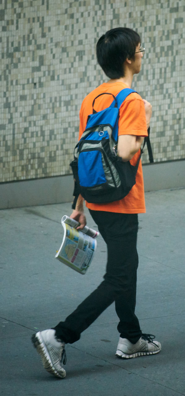 full length, boys, childhood, backpack, casual clothing, education, elementary age, child, one person, leisure activity, outdoors, males, one boy only, day, real people, student, city, people