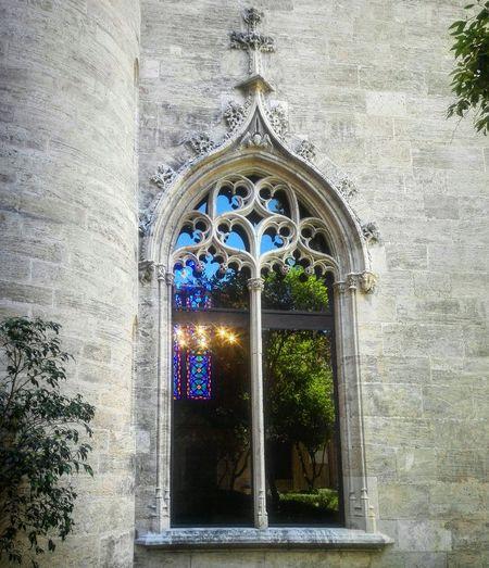 Window Frame Lonja De La Seda Valencia, Spain Bizantin Arabesque Medieval Outdoor Architecture Mosaic Decorative Art Unescoheritage