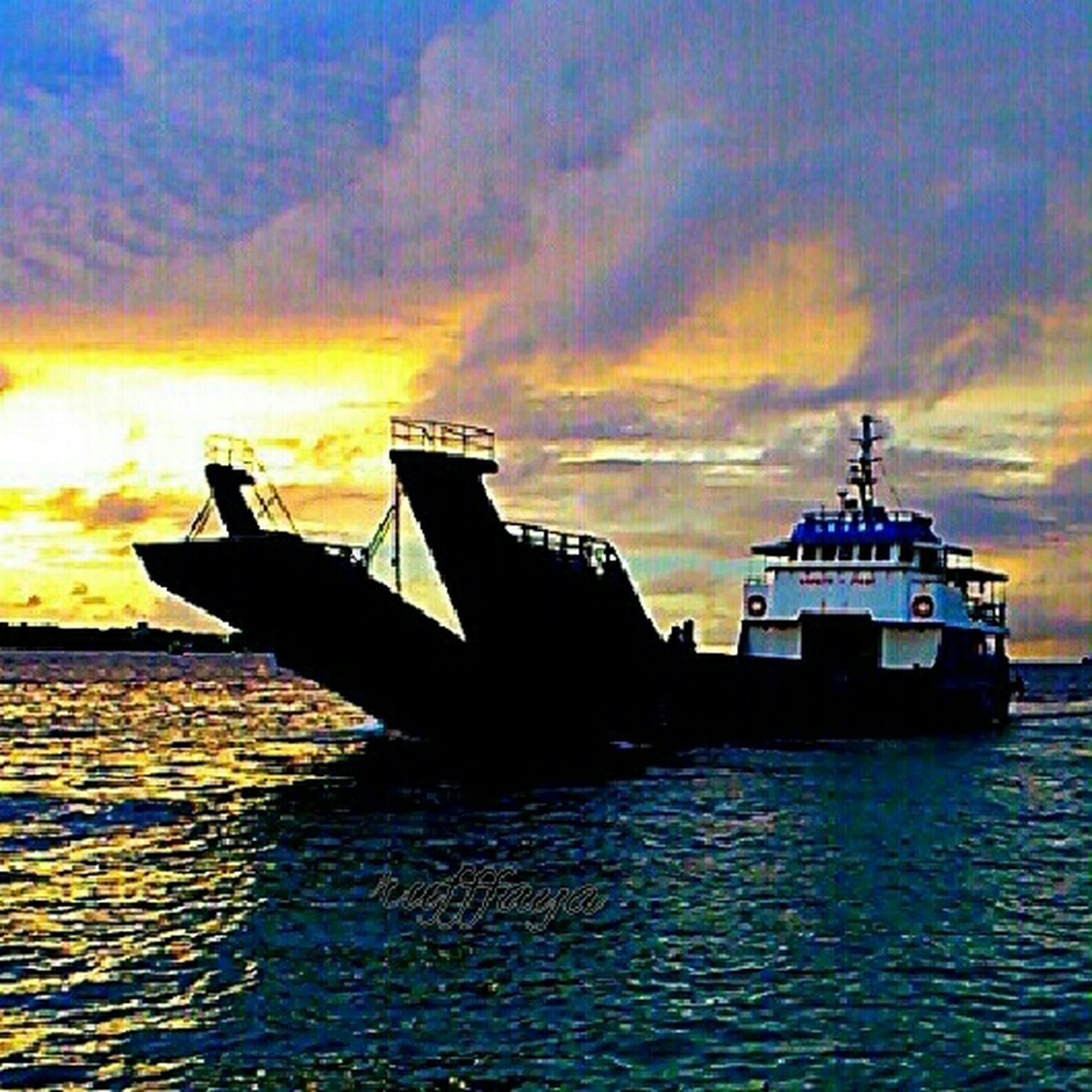 sunset, water, sky, transportation, waterfront, orange color, sea, silhouette, nautical vessel, cloud - sky, mode of transport, beauty in nature, boat, cloud, scenics, nature, tranquility, rippled, tranquil scene, no people