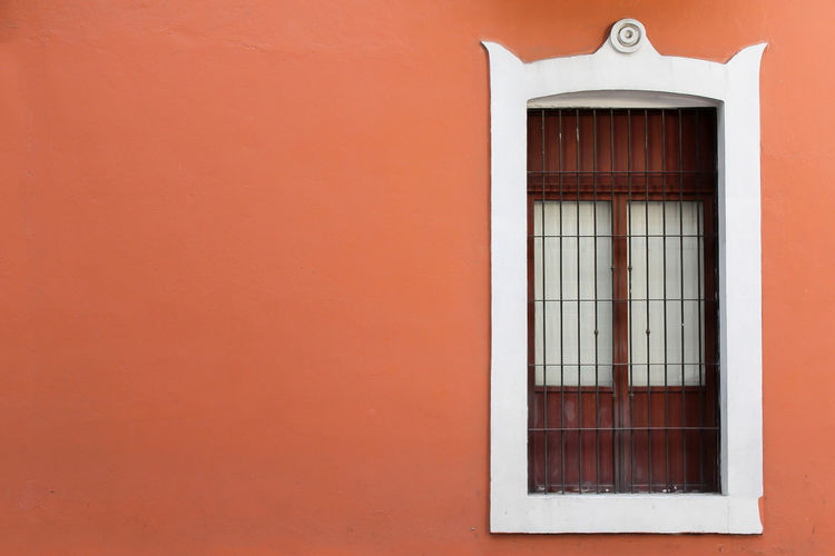 Puebla Architecture Arcitecture Brown Building Building Exterior Built Structure Close-up Closed Copy Space Day House No People Orange Color Outdoors Protection Red Safety Security Security Bar Wall Wall - Building Feature Window Window Frame Windows