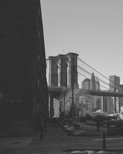 Architecture Bridge Bridge - Man Made Structure Brooklyn Bridge  Brooklyn Bridge / New York Building Exterior Built Structure City Cold Day December New York New York City No People Outdoors Sky Sunny Winter