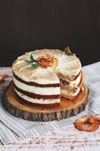 Cake with layers in autumn style with apples Apple Autumn Celebration Stylish Apple Pie Black Background Cake Close-up Crème Day Dessert Fall Food Food And Drink Freshness Indulgence Layer Ready-to-eat Season  Studio Shot Sweet Food Table Temptation Wood - Material Wooden Fresh On Market 2017