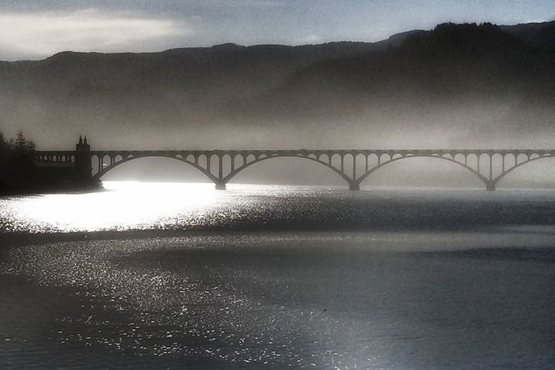 Bridge - Man Made Structure Atmospheric Mood Steel Business Finance And Industry Tranquility Scenics Tranquil Scene Water Landscape Beach Built Structure Fog Sea Nature No People Architecture Dawn Outdoors Sky Day Grymmreaper
