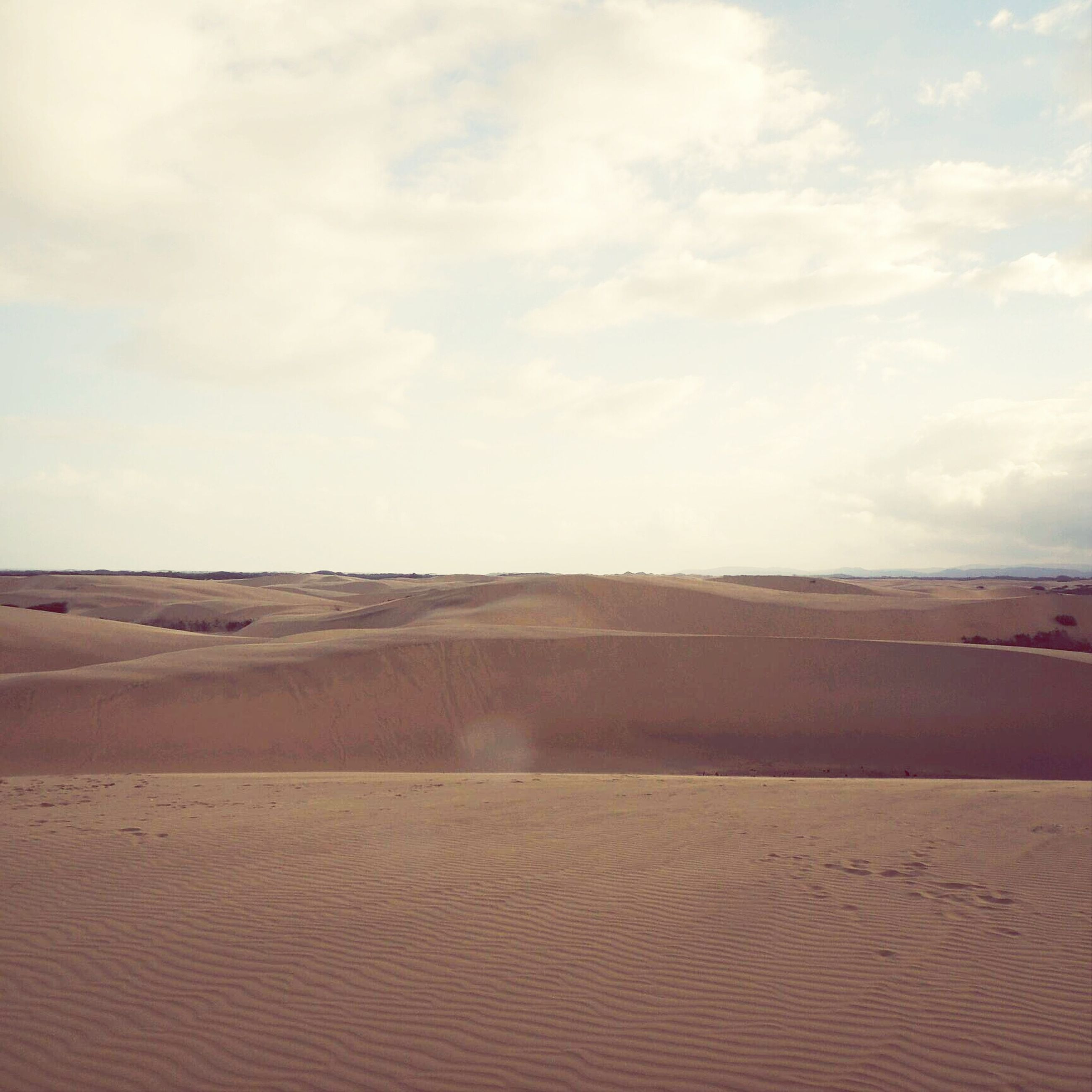 sand, desert, tranquil scene, tranquility, sky, sand dune, landscape, scenics, arid climate, beach, nature, beauty in nature, remote, barren, footprint, non-urban scene, cloud - sky, horizon over land, cloud, day