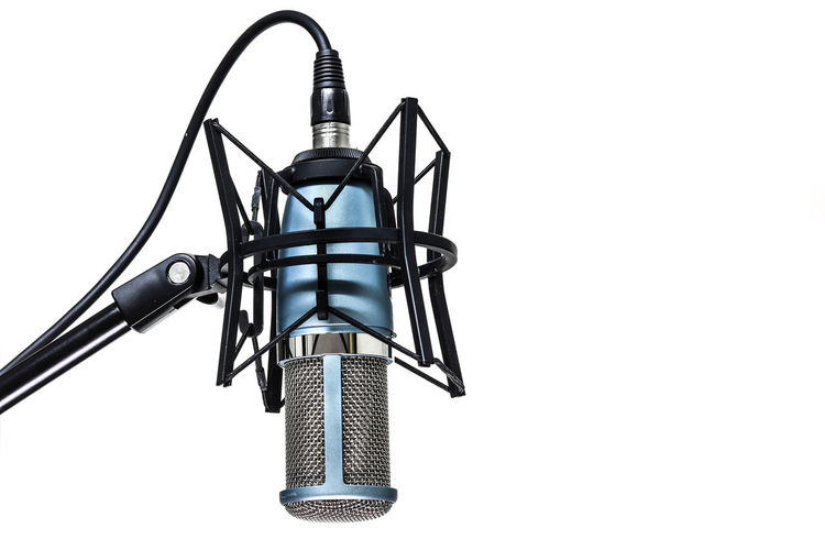 microphone isolated on white background Copy Space Mock Up Isolated Isolated On White White Background Metal Studio Shot No People Technology Sky Communication Low Angle View Single Object Connection Clear Sky Indoors  Arts Culture And Entertainment Close-up Cut Out Tower Nature