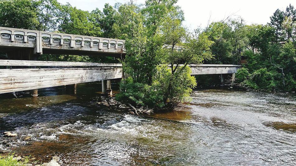 Flowing Water Water Huron River Ypsilanti Michigan Bridges Wooden Bridge