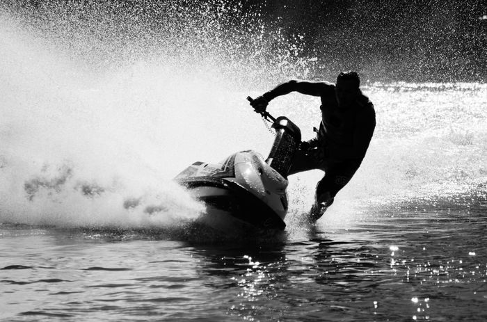 Water Sports Speed Jetskiing Black & White High Contrast Black And White Friday