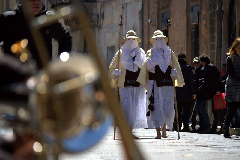 People on street of francavilla fontana during easter